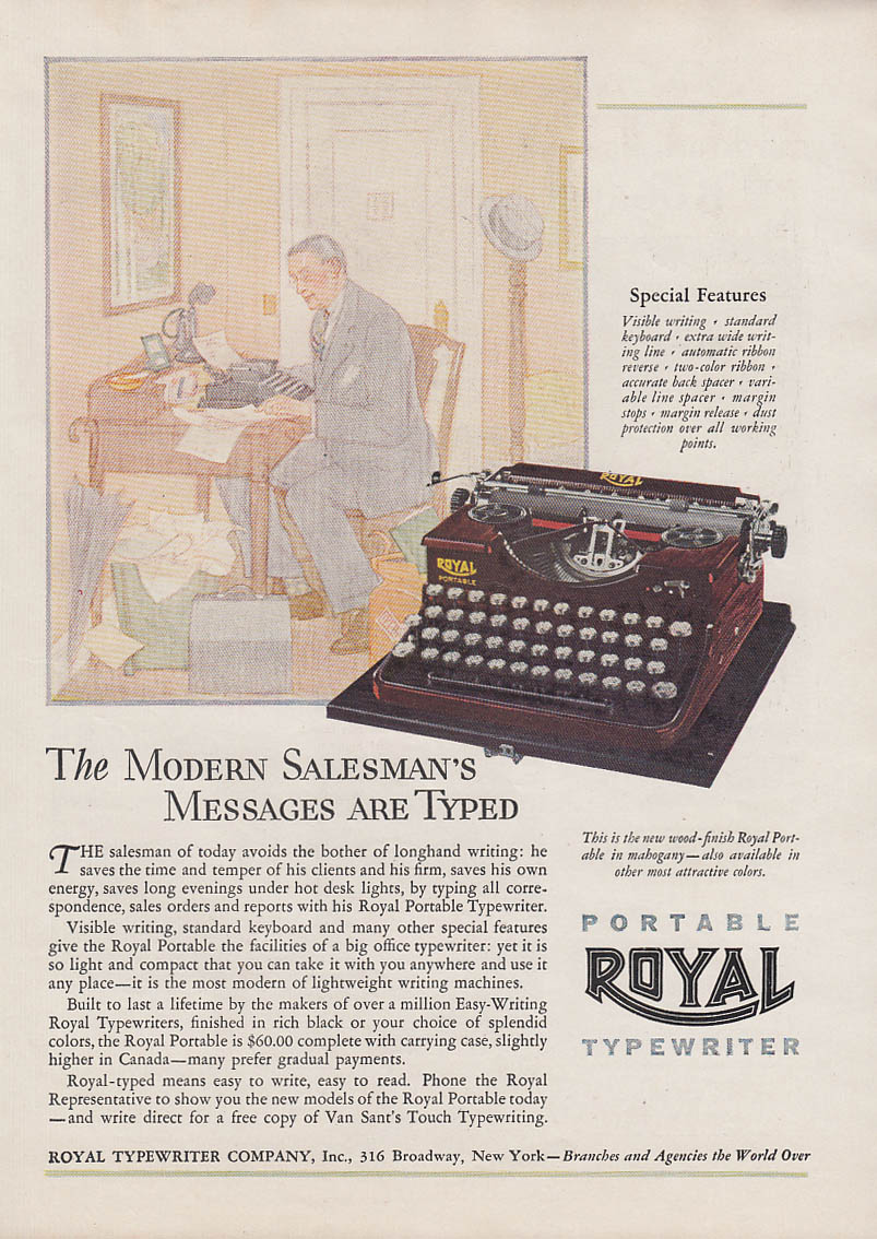 A Modern Salesman's Messages are Typed Royal Portable Typewriter ad 1928 Am