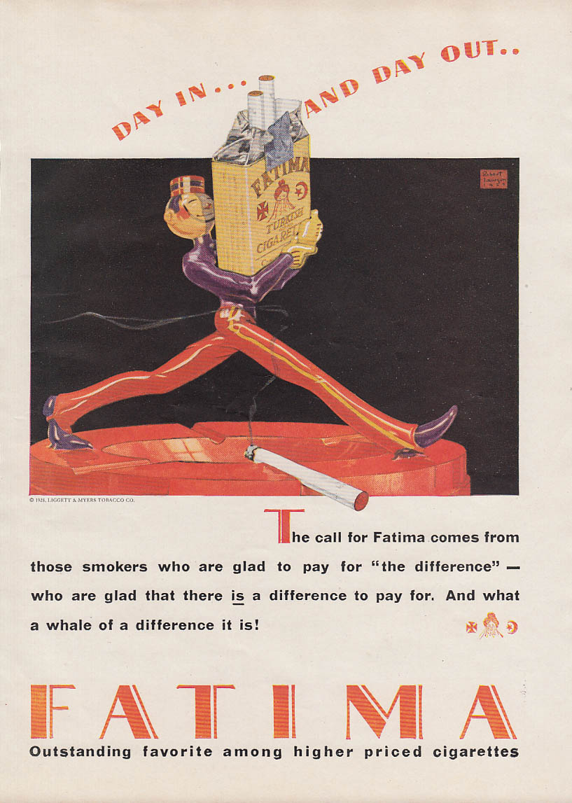 Day in & Day Out Fatima Cigarettes ad 1928 Robert Lawson bellboy art