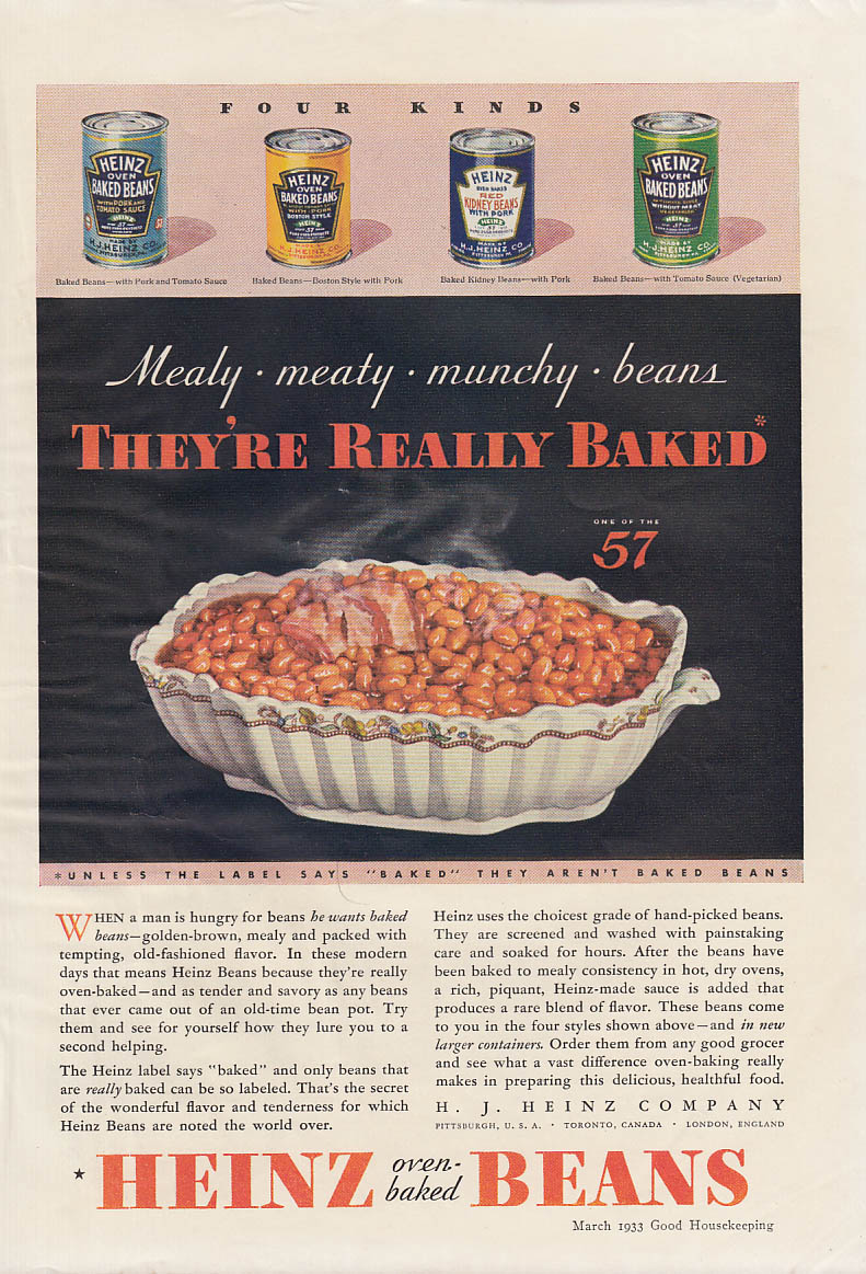 Mealy Meaty Munchy Beans They're Really Baker - Heinz Beans ad 1923