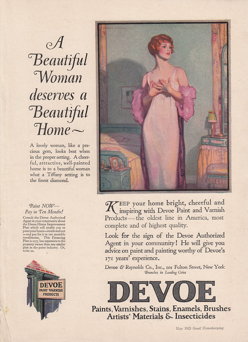 A Beautiful Woman deserves a Beautiful Home Devoe Paint ad 1925 Hayden Hayden