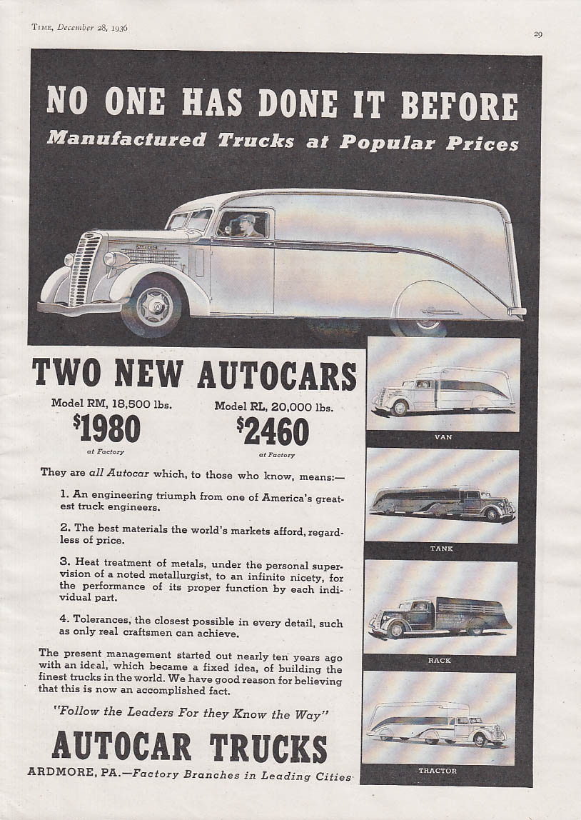 Image for No one has done it before Autocar Model RM & RL Truck ad 1937 T