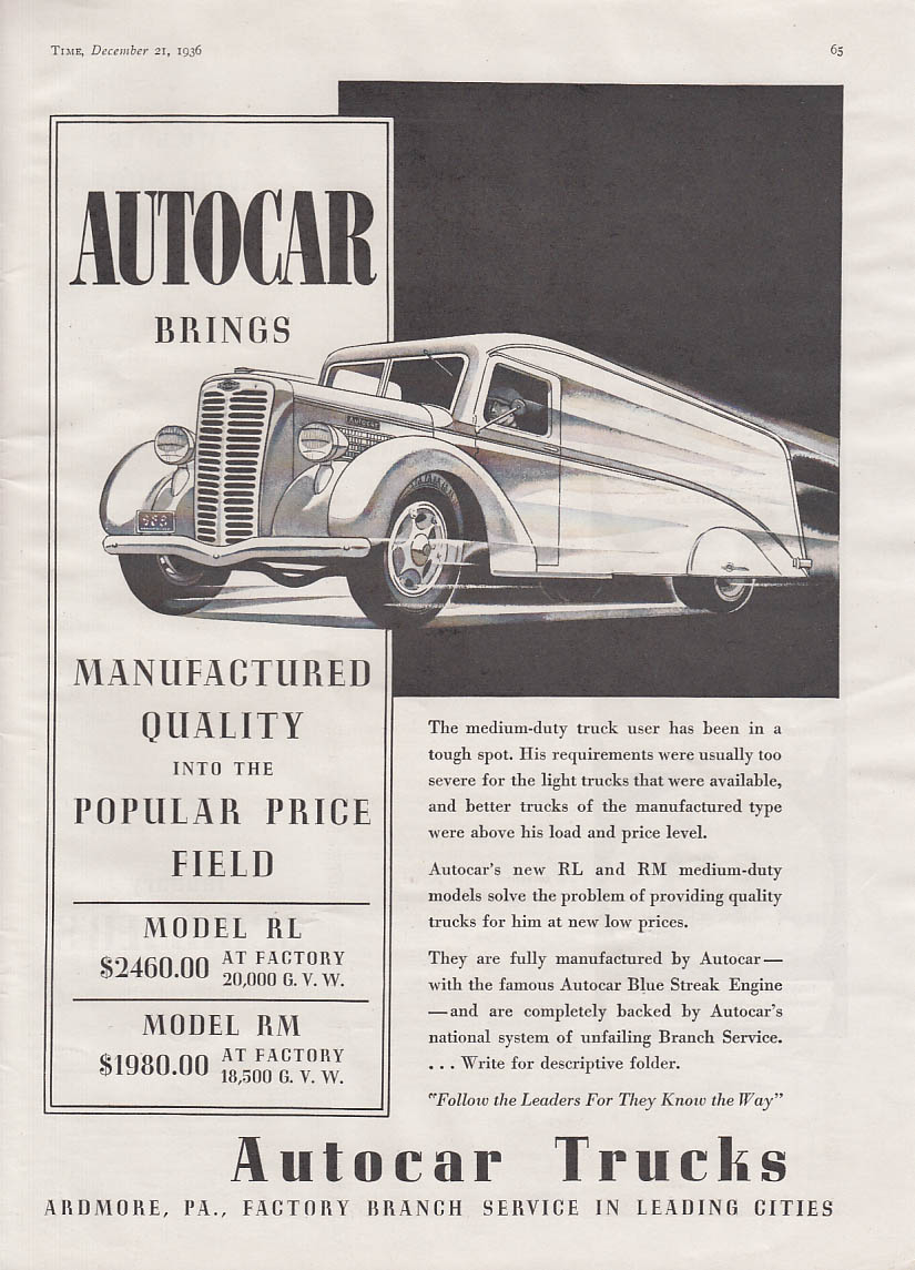 Image for Manufactured Quality into the Popular Price Field Autocar RL & RM Truck ad 1937