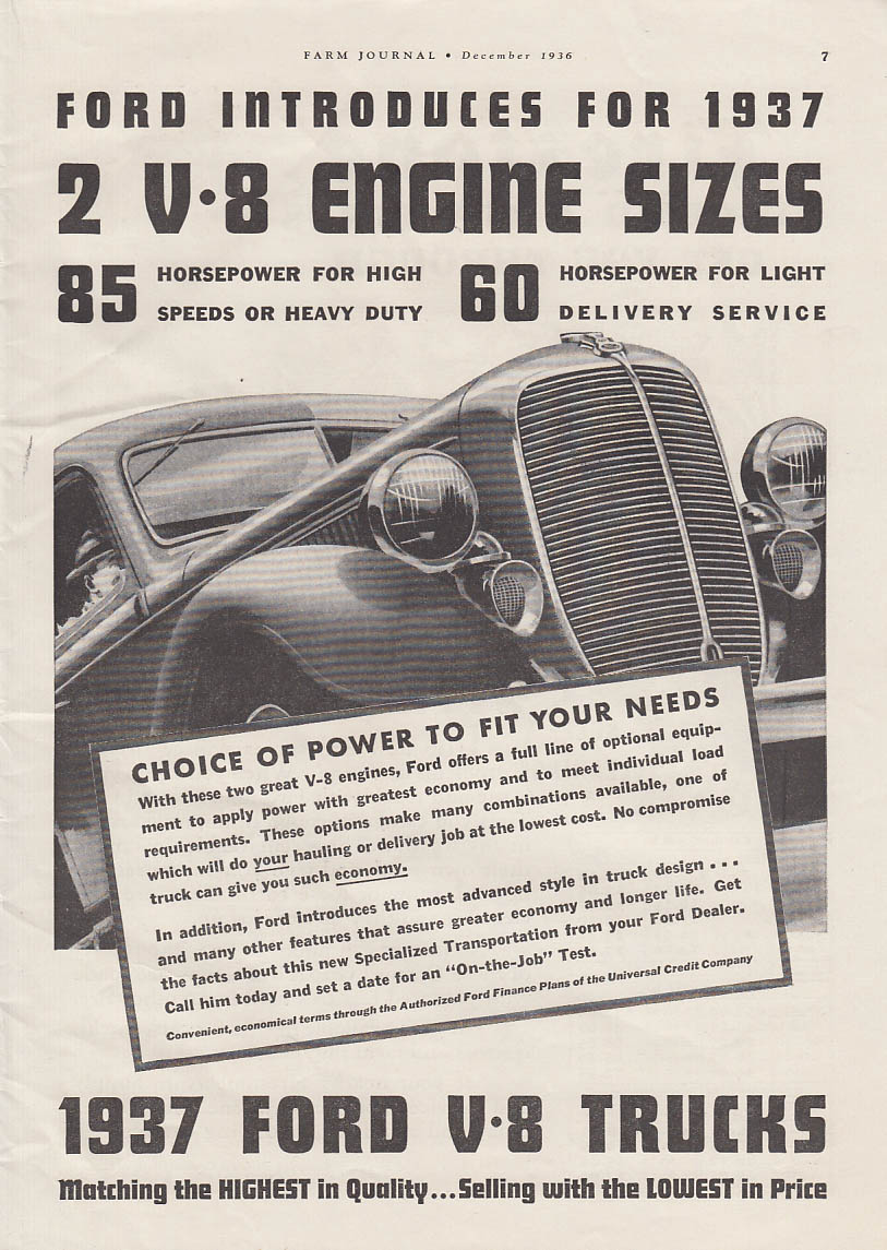 2 V-8 Engine Sizes for 1937 Ford V-8 Trucks ad FJ