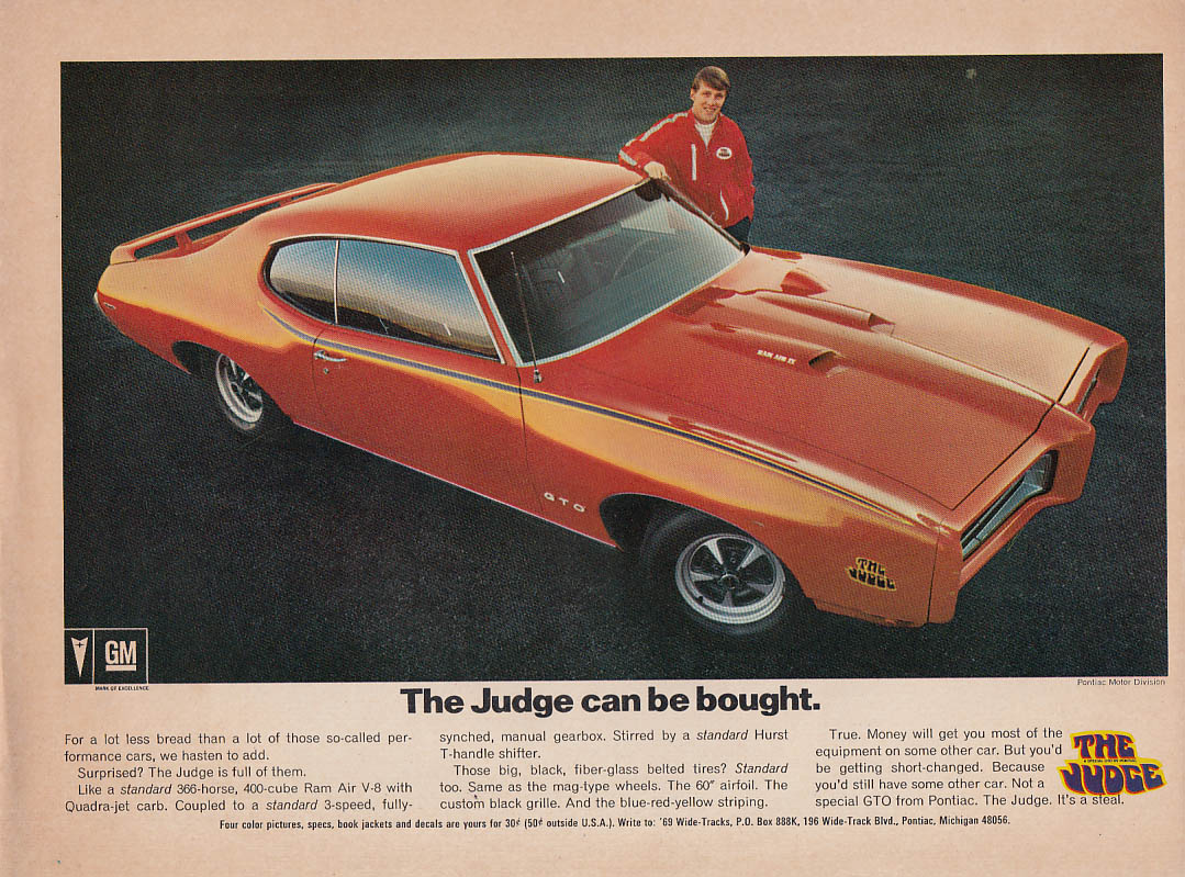 The Judge can be bought Pontiac GTO ad 1969 CC