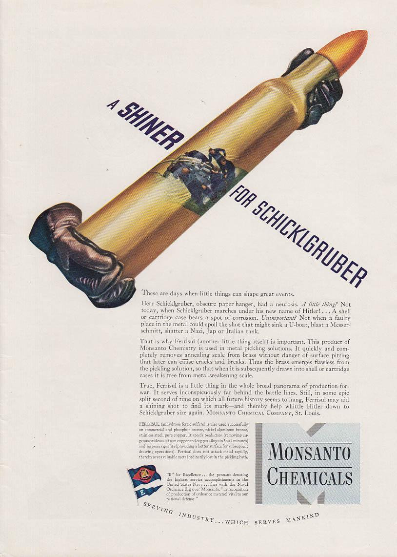 A Shiner for Schiklgruber Hitler Monsanto Chemicals Artillery Shell ad 1942