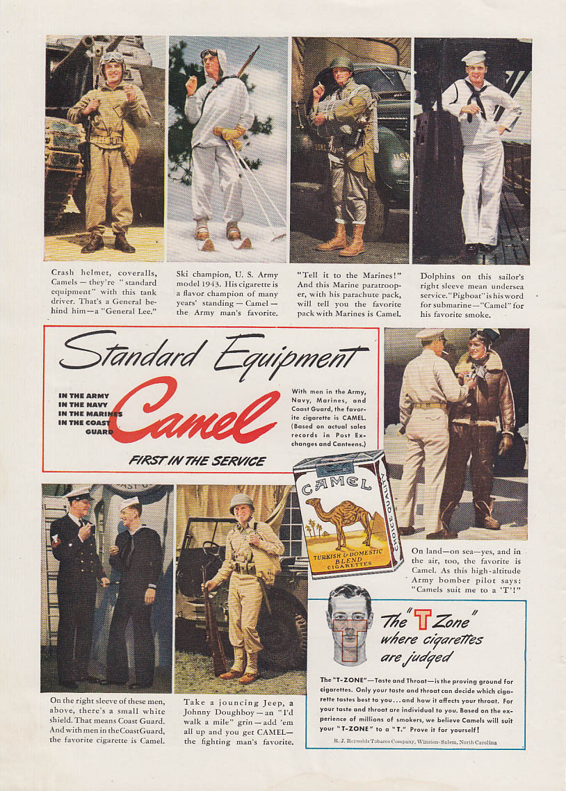 Stadard Equipment Army Navy Marine Coast Guard Camel Cigarettes ad 1943 T
