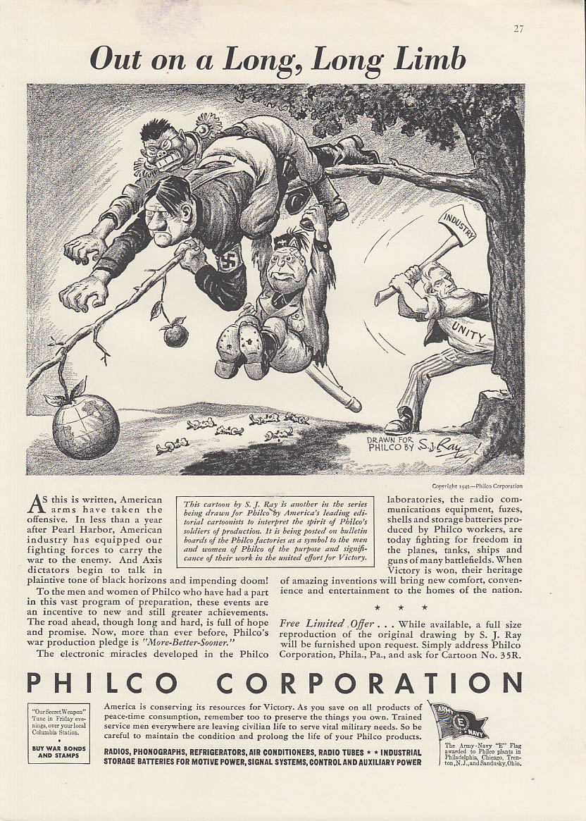Out on a Long Long Limb Uncle Sam vs Hitler Mussolini Tojo Philco ad 1942 by Ray
