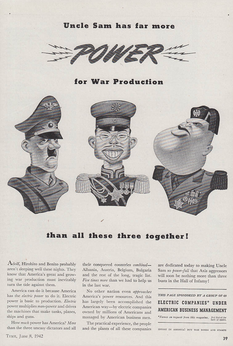 Uncle Sam Has More Power vs Hitler Tojo Mussolini Electric Companies ad 1942