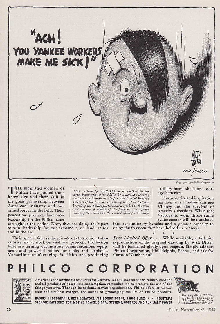 Ach! You Yankee Workers Make Me Sick Philco vs Hitler ad 1942 by Walt Ditzen