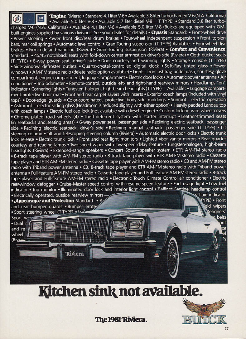 Kitchen sink not available. Buick Riviera ad 1981 various