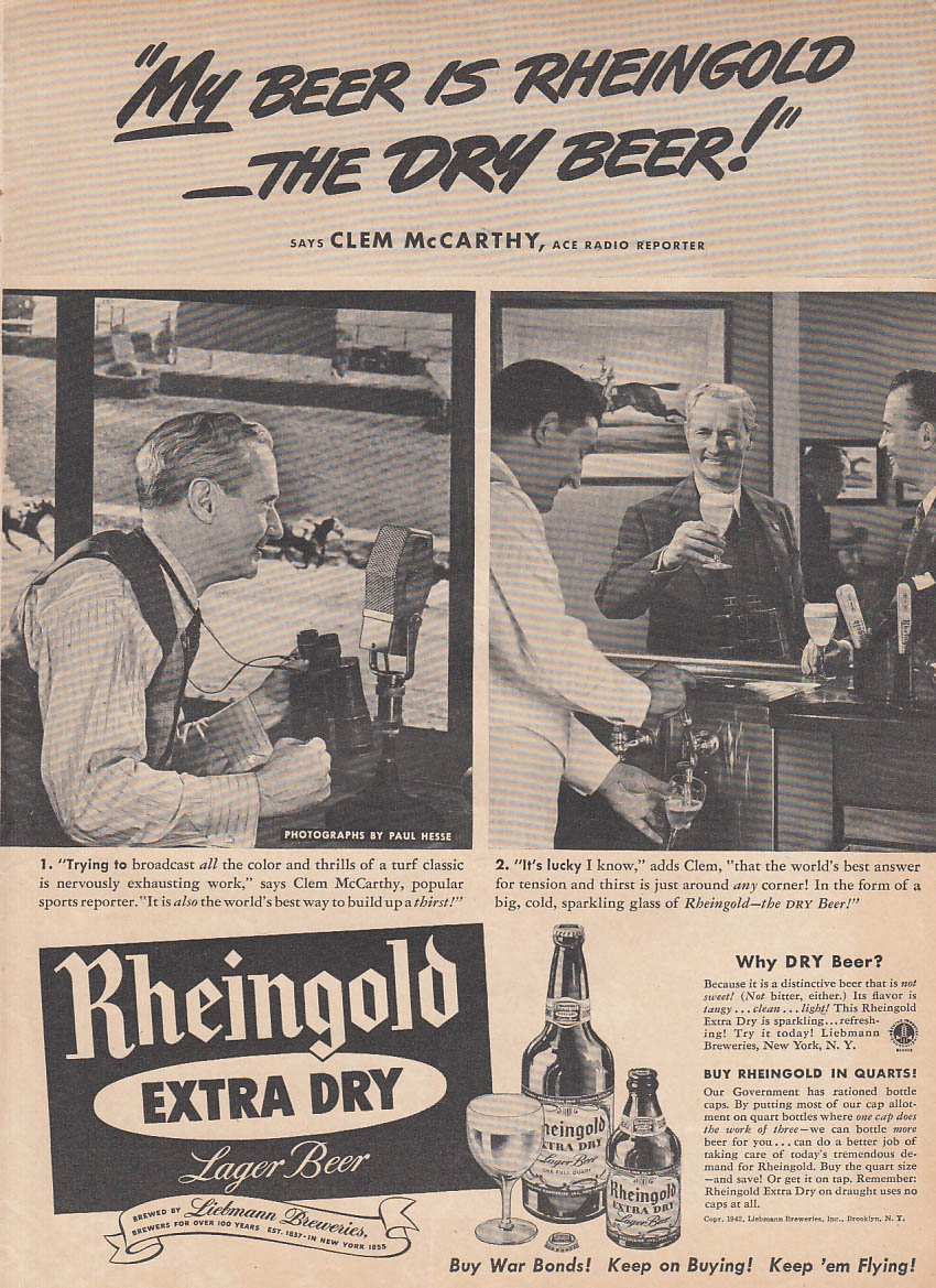 ABC Radio Horseracing Reporter Clem McCarthy for Rheingold Beer ad 1942