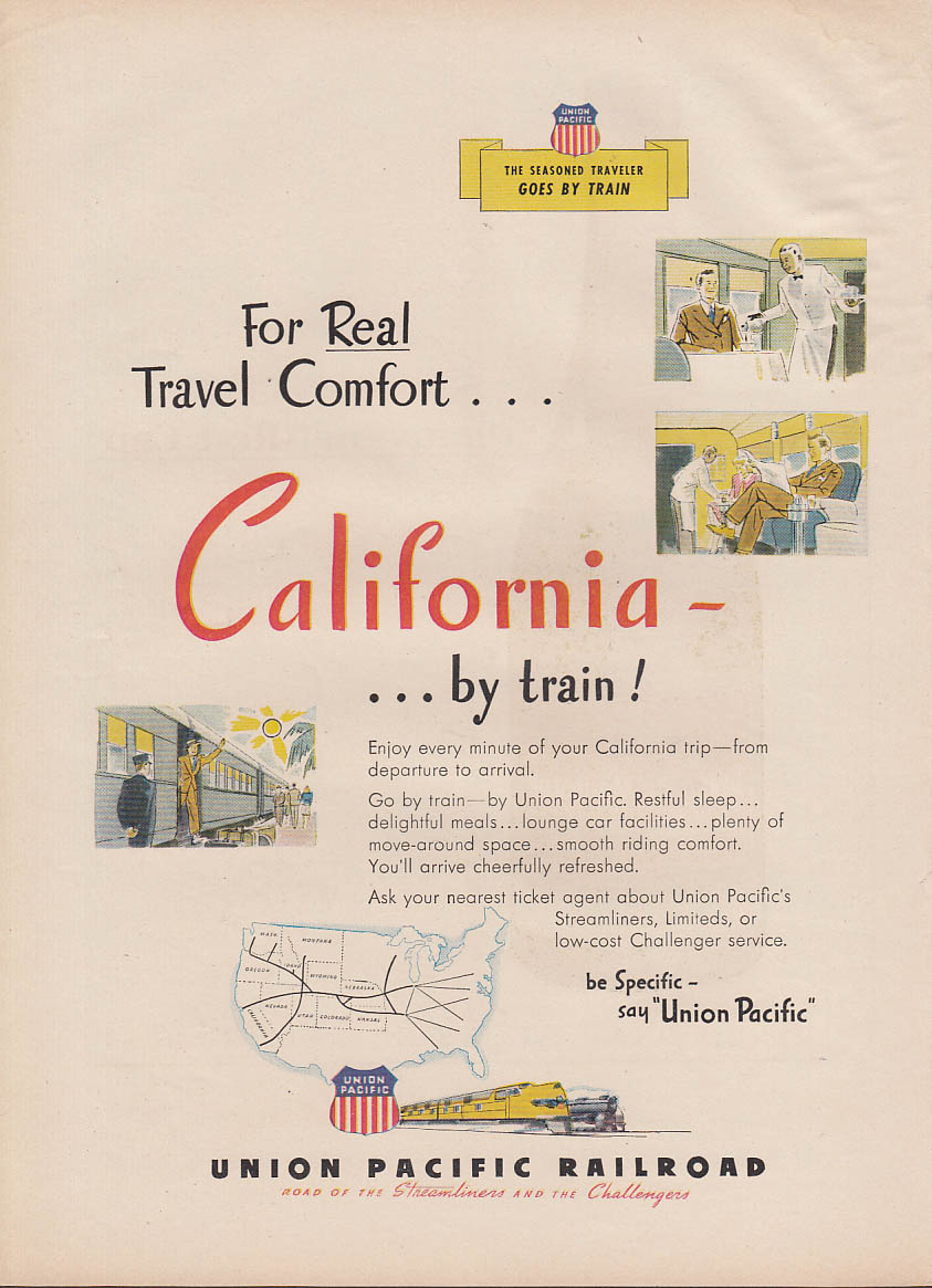 Real comfort California by train Union Pacific Railroad ad 1946 NY