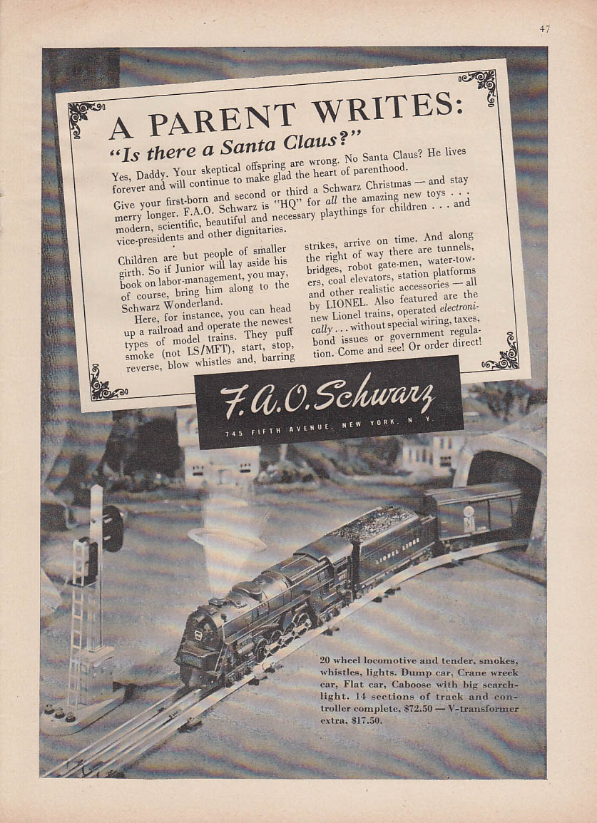 Parent Writes Is There a Santa Claus? Lionel Electric Train FAO Schwarz ad 1946
