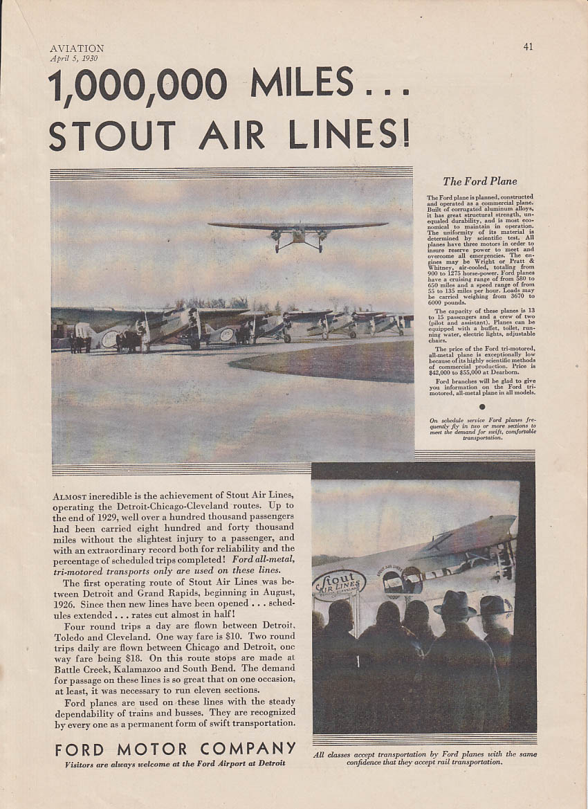 1,000,000 miles Stout Air Lines Ford Tri-Motor ad 1930
