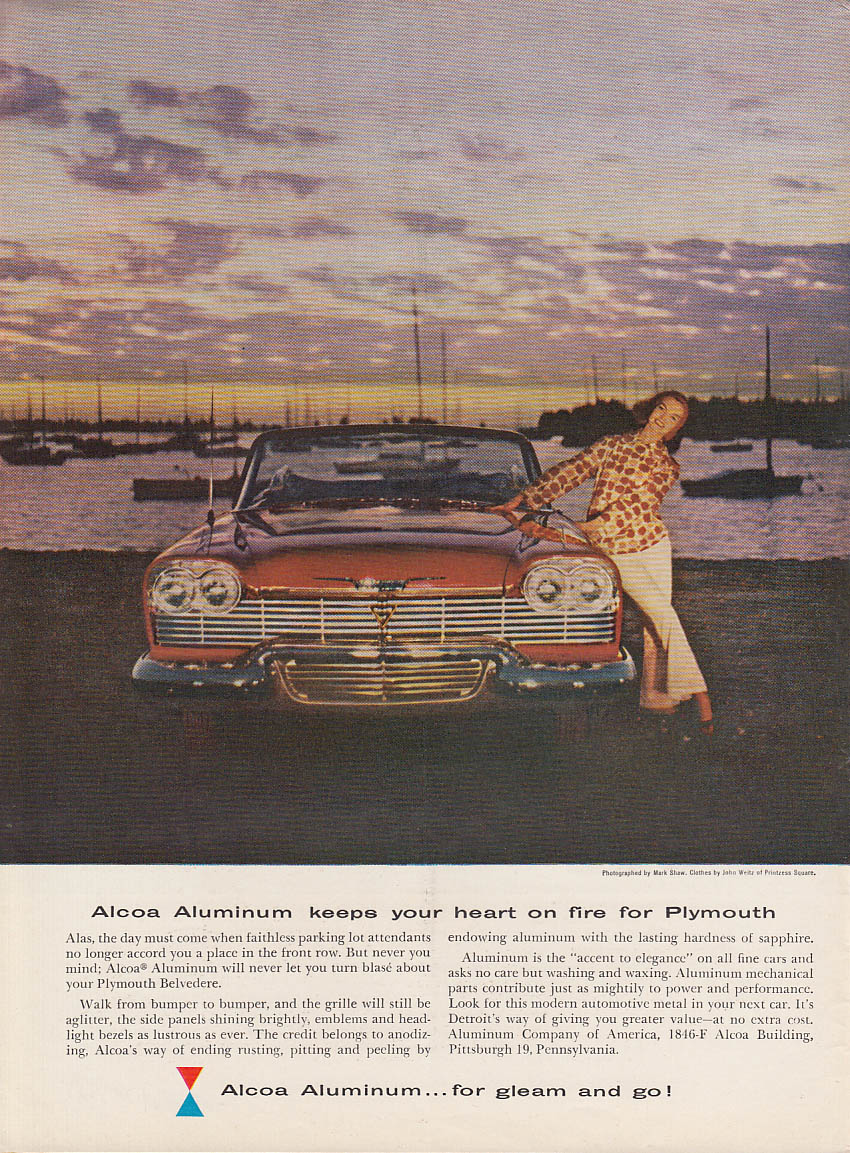 Alcoa Aluminum keeps your heart on fire for Plymouth Convertible ad 1958