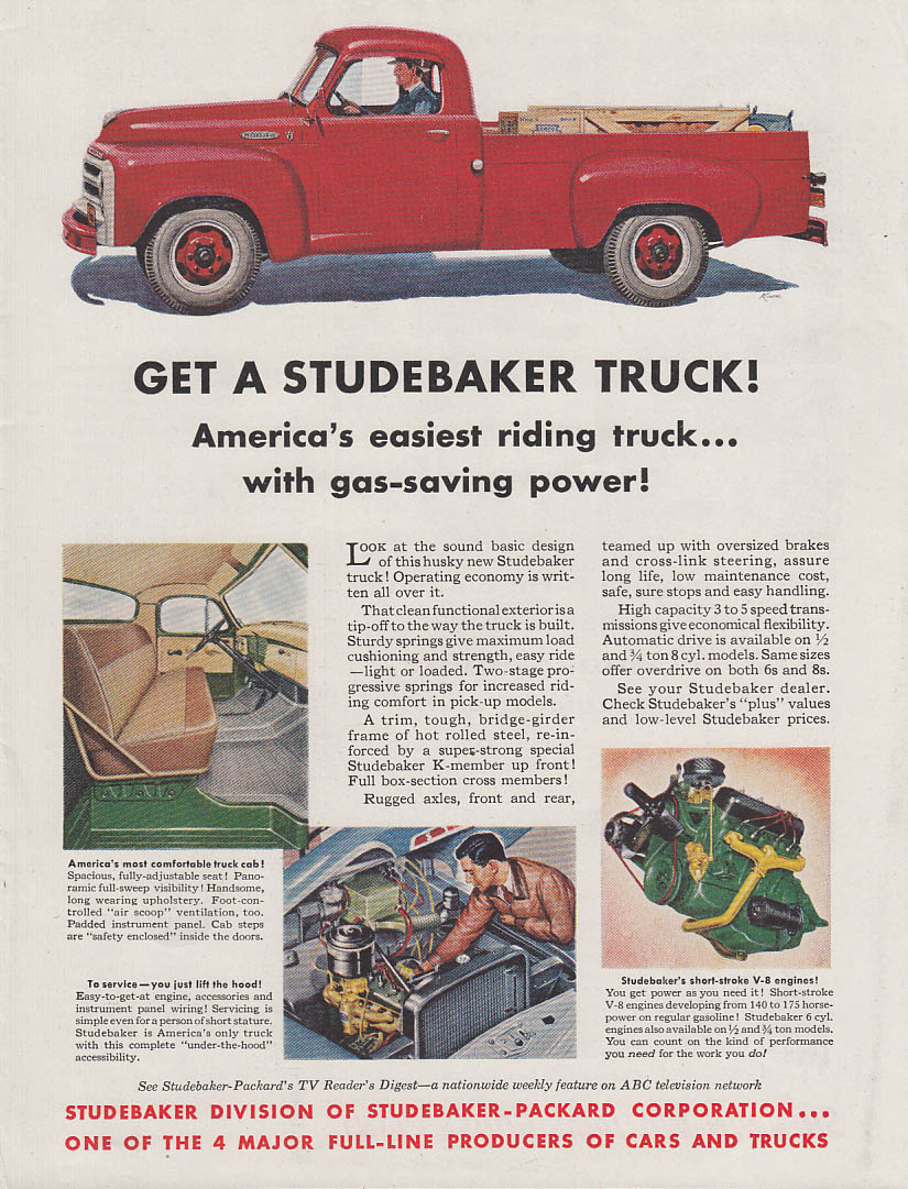 America's easiest riding truck with gas-saving power Studebaker Pickup ad 1955