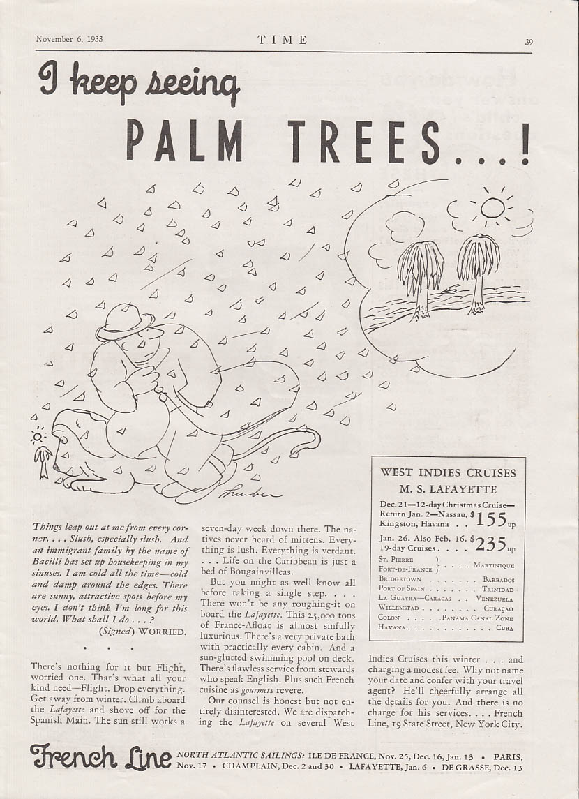 I keep seeing palm trees! James Thurber art for French Line ad 1933