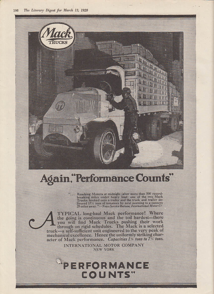 Again, performance counts - Mack Truck ad 1920 LD