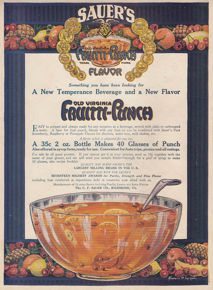 A New Temperance Beverage & a New Flavor Sauer's Frutti-Punch ad 1919