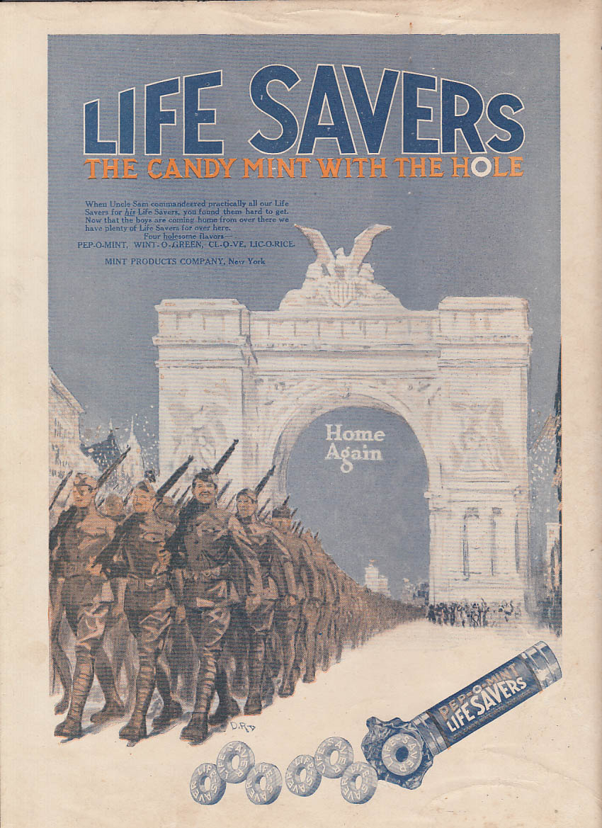 Image for US Doughboys Home Again thru NY Victory Arch Life-Savers Candy ad 1919