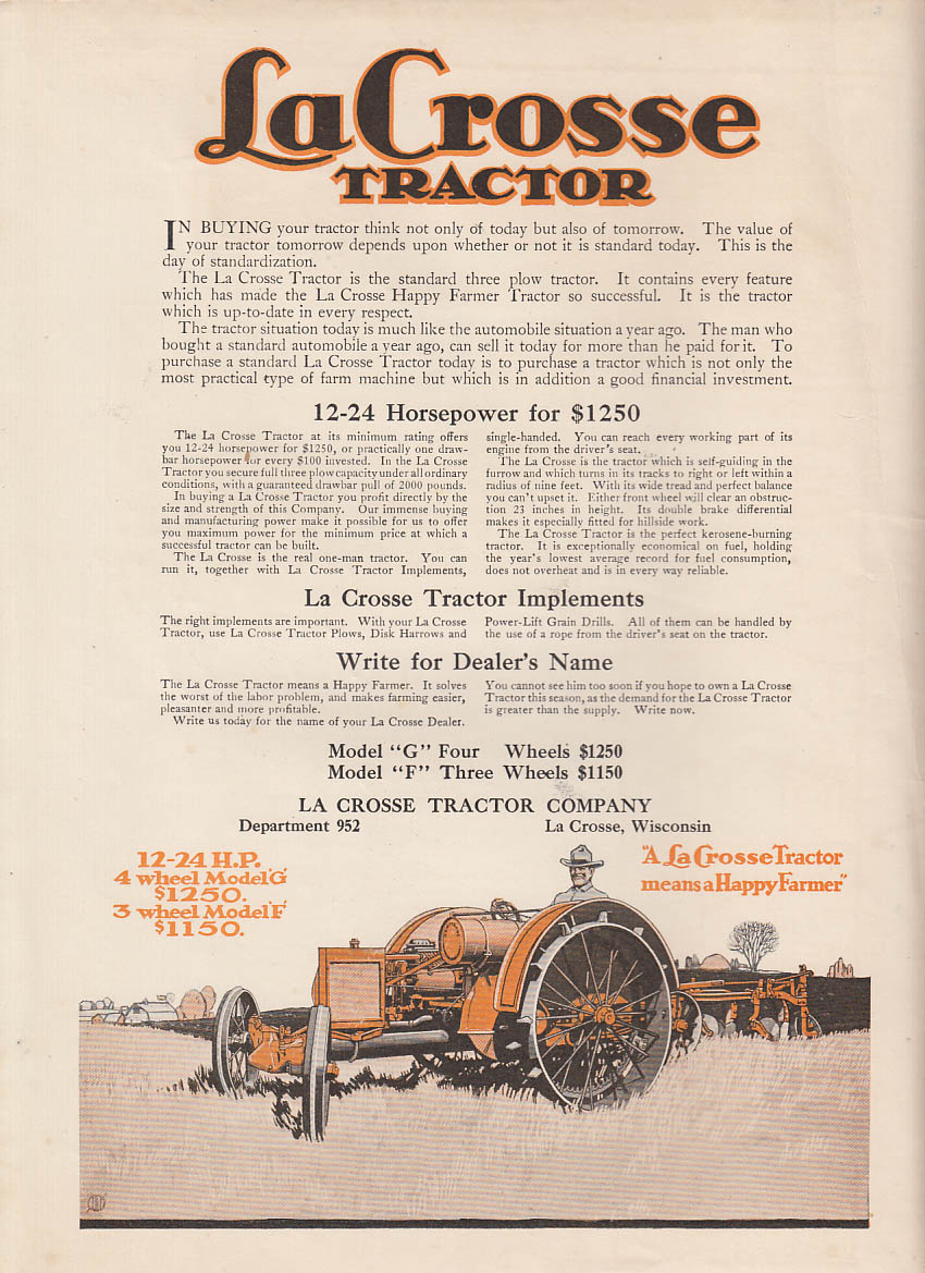 12-24 Horsepower for $1250. La Crosse Tractor Model G ad 1919