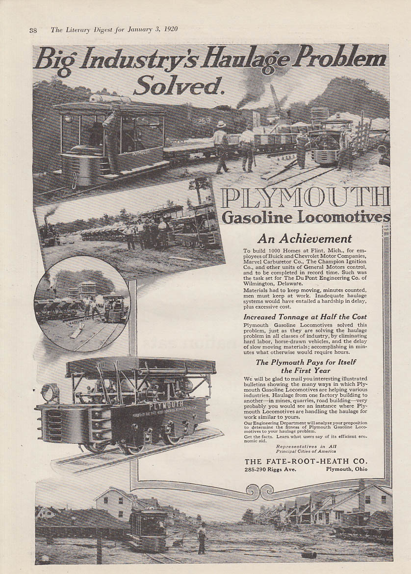 Big Industry's Haulage Problem Solved Plymouth Gasoline Locomotives ad 1920