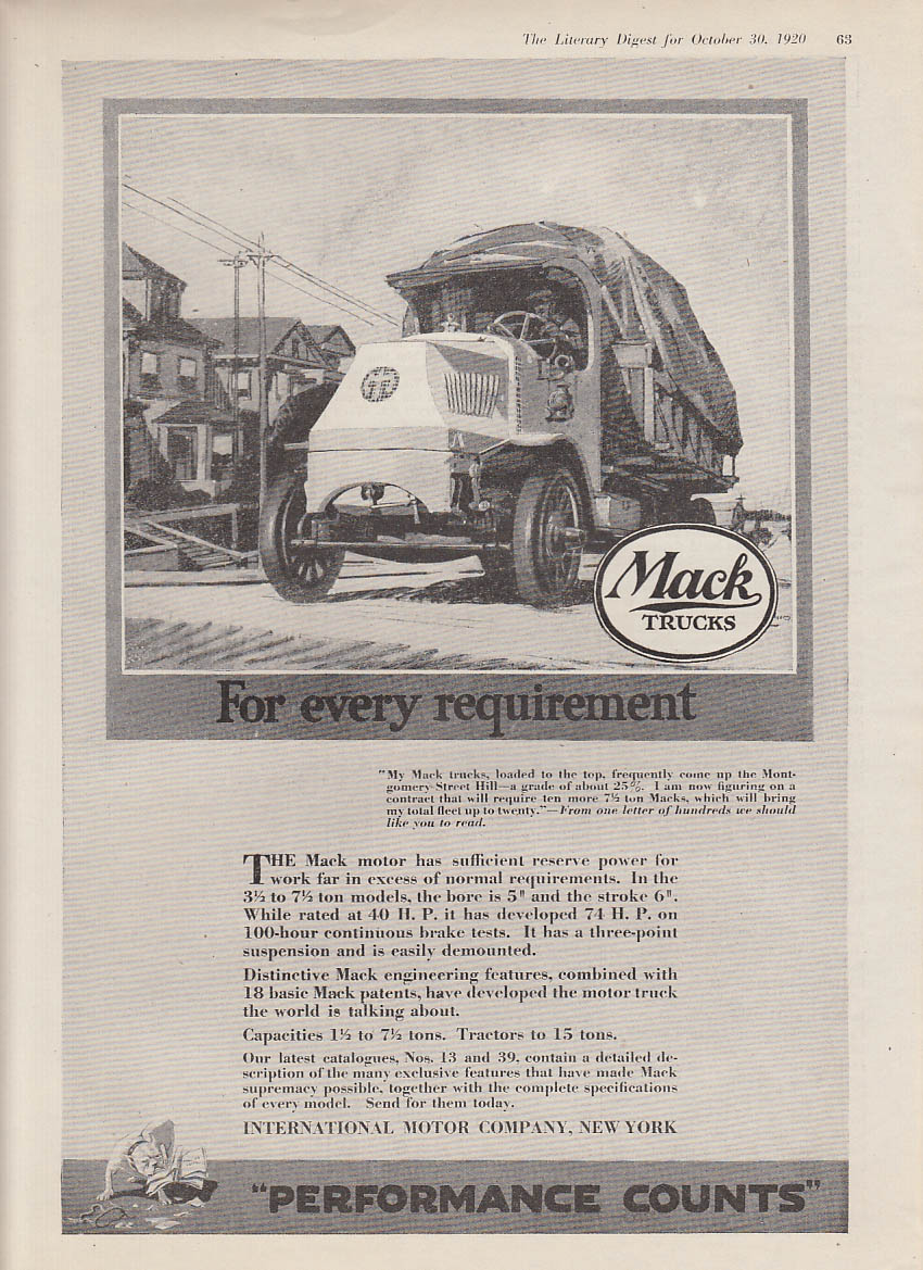 For every requirement Mack Truck ad 1920 Performance Counts