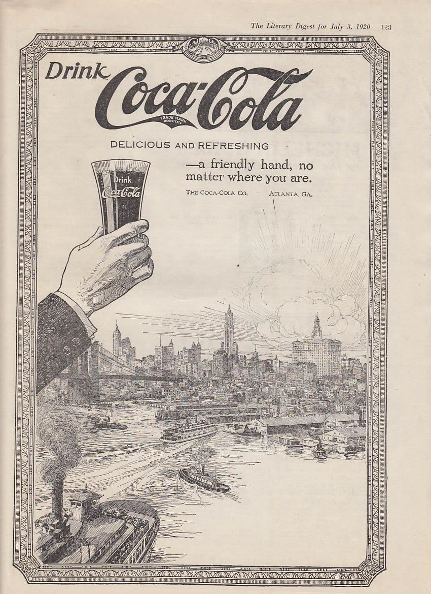 A friendly hand no matter where you are Coca-Cola ad 1920