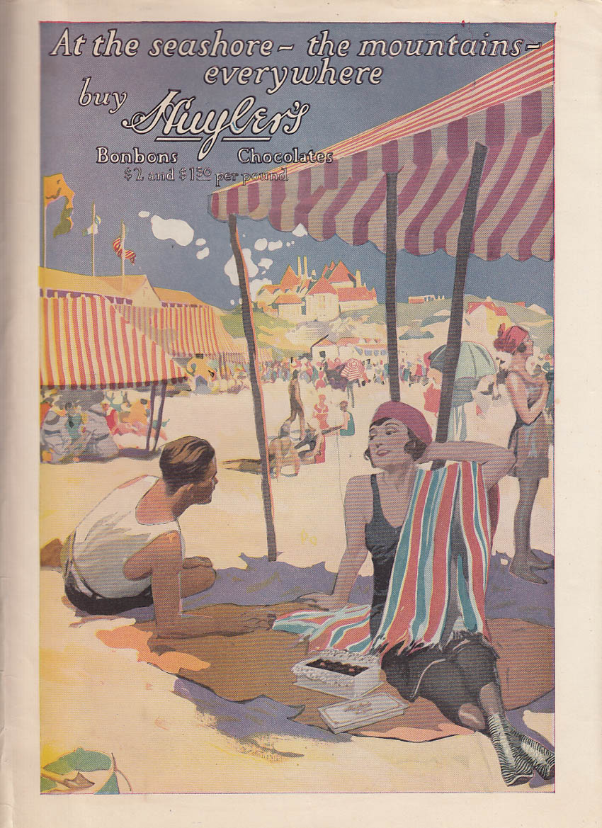 At the seashore, moountaisn everywhere - buy Huyler's Bobbons Chocolates ad 1920
