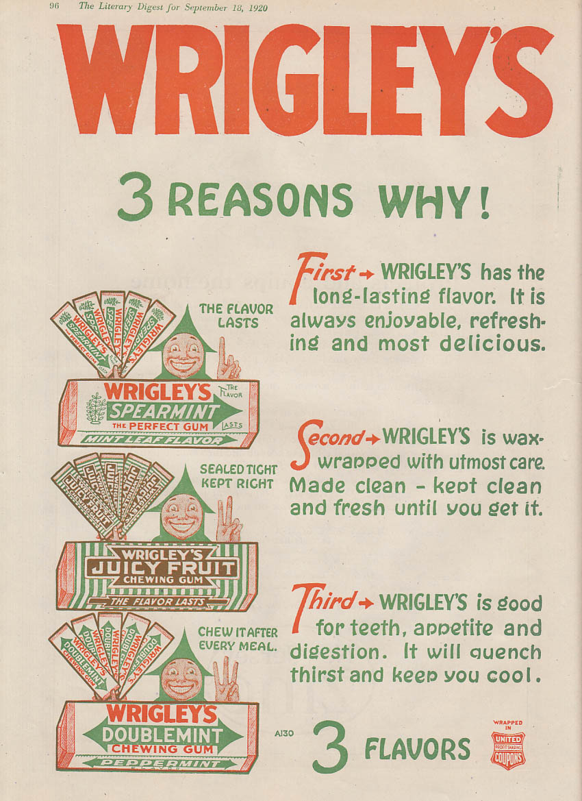 3 Reasons Why! Wrigley's Spearmint Juicy Fruit Doublemint Gum ad 1920