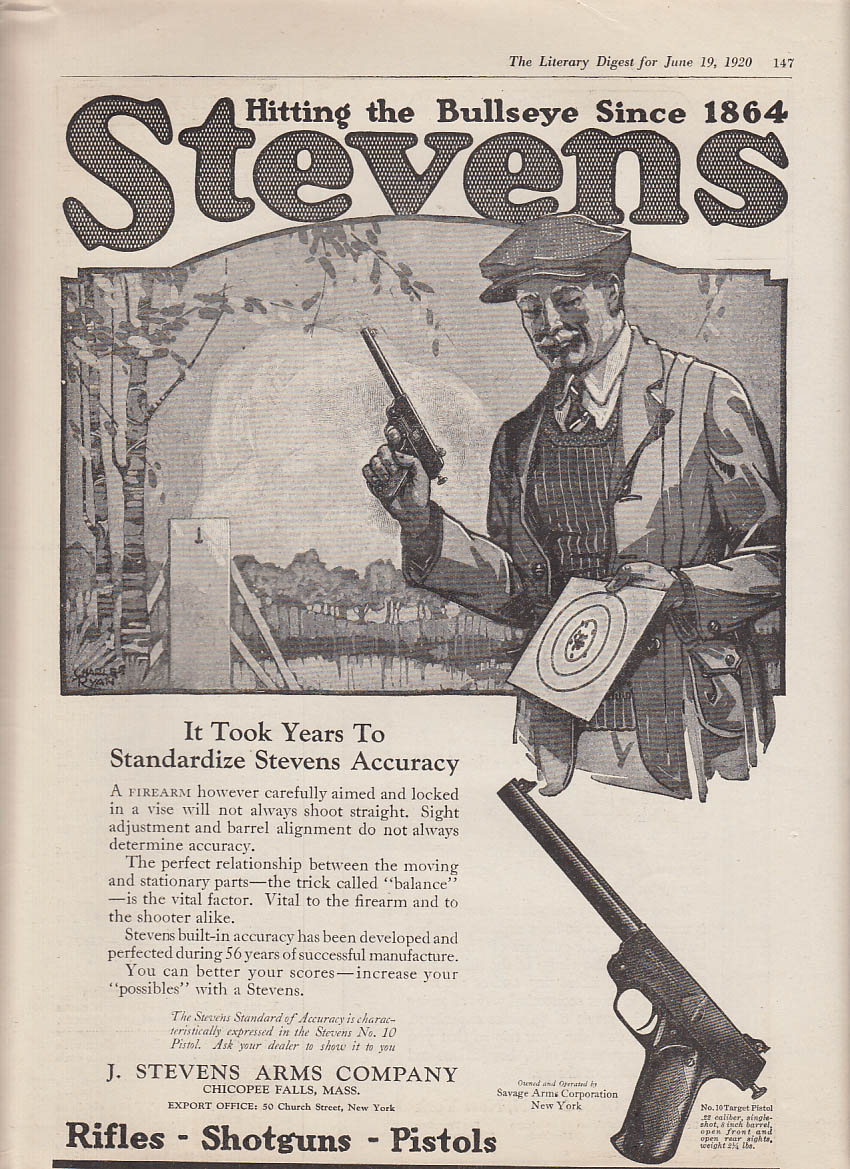 Hitting the Bullseye since 1864 Stevens #10 Target Pistol ad 1920