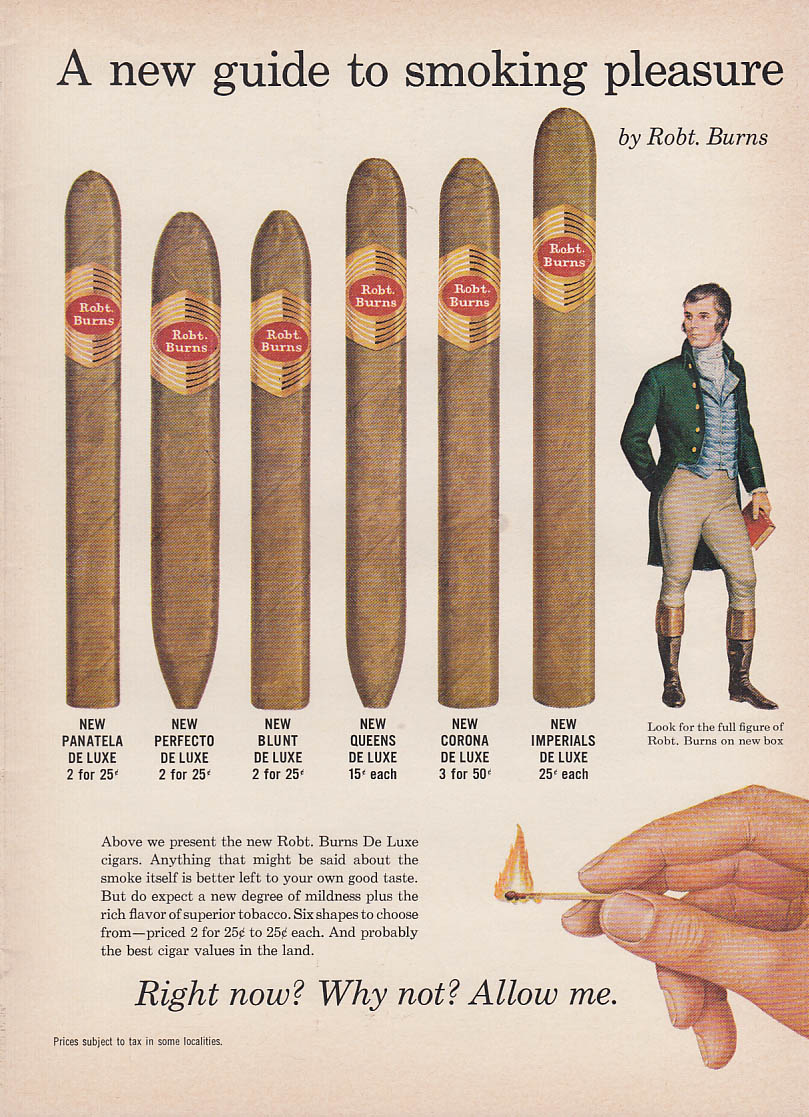 A new guide to smoking pleasure Robert Burns Cigars ad 1960
