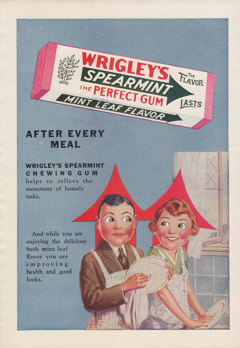 After every meal Wrigley's Spearmint Gum ad 1930 Spearhead couple do dishes
