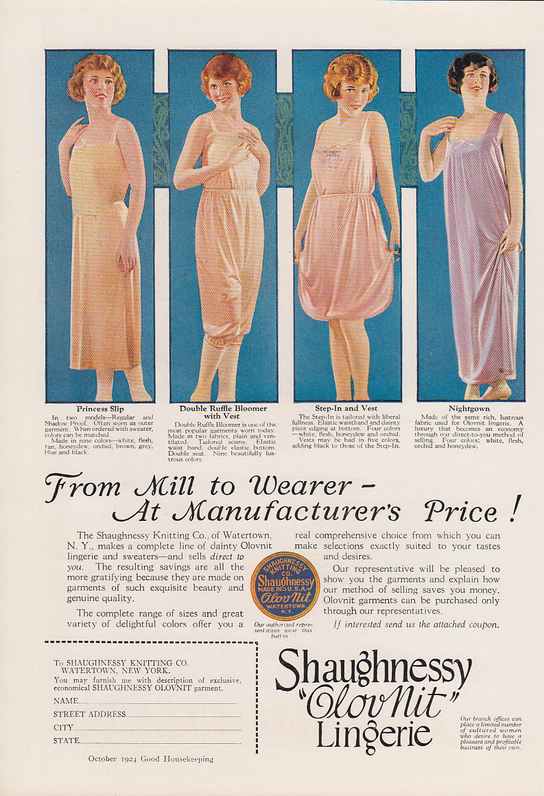 From Mill to Wearer at Manufacturer's Price Shaughnessy GlovNit Lingerie ad 1924