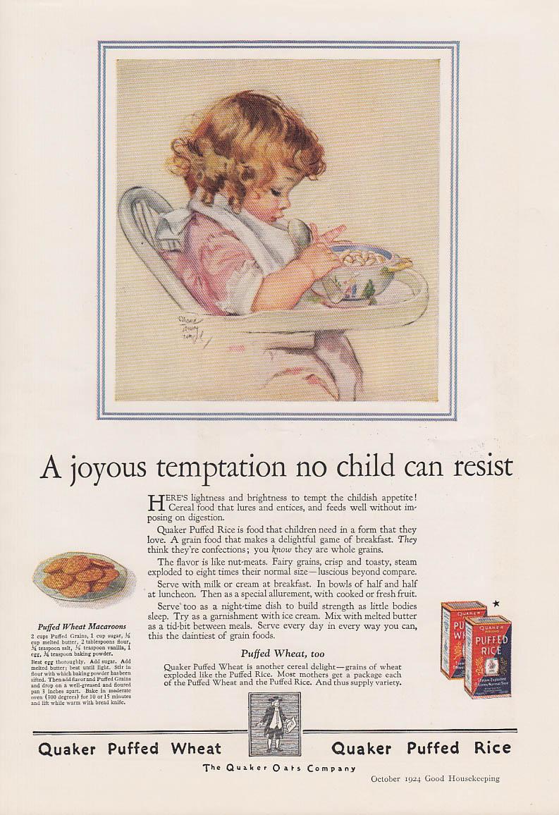 Joyous temptation no child can resist Quaker Cereal ad 1924 Maud Tousey Fangel