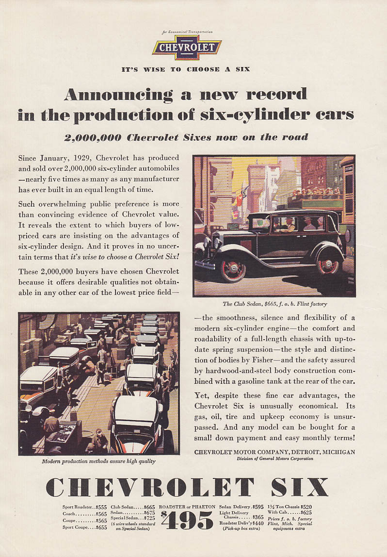 A new record production of six-cylinder cars Chevrolet Club Sedan ad 1930 AM