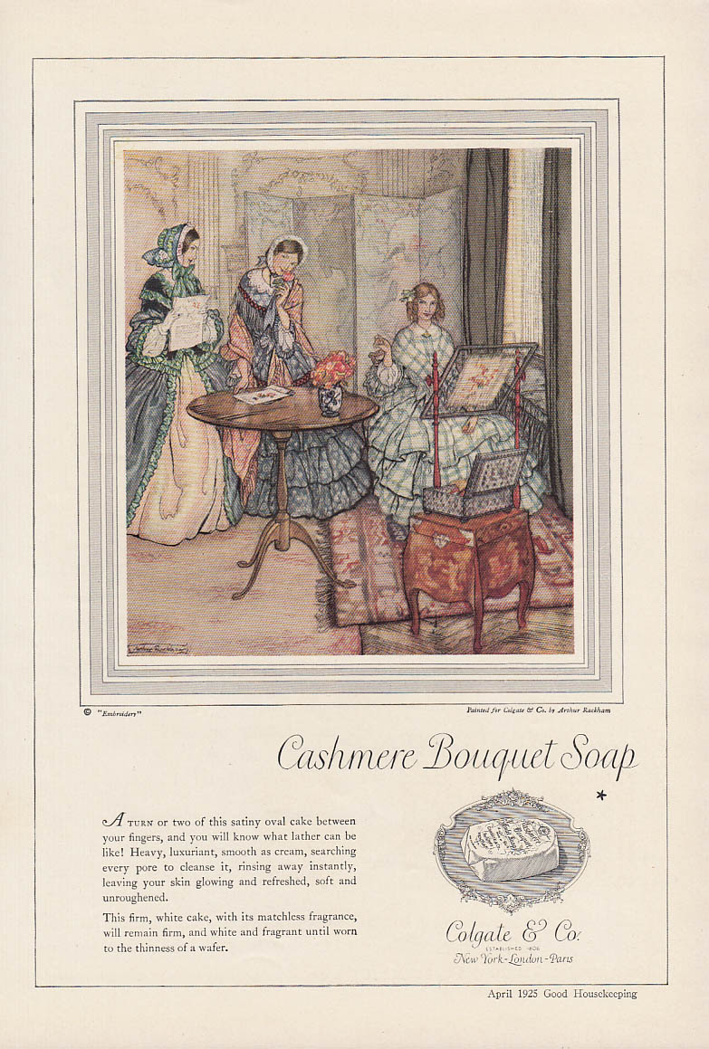 A turn or two of this satiny cake Cashmere Bouquet Soap ad 1925 Arthur Rackham