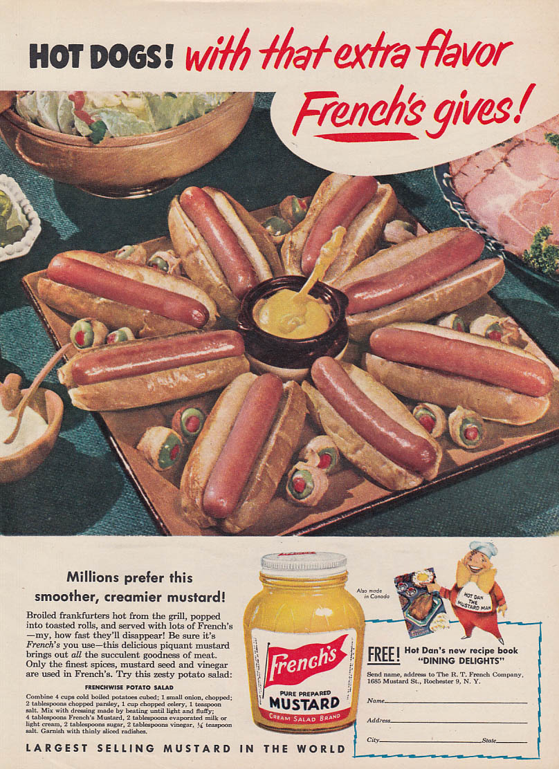 Image for Hot Dogs! With that extra flavor French's Mustard gives! Ad 1951