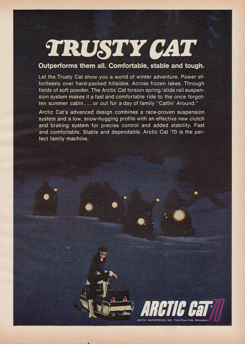 Image for Trusty Cat outperforms them all Arctic Cat snowmobile magazine ad 1970