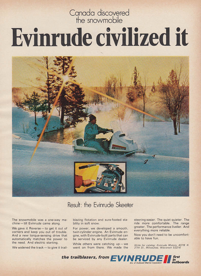 Canada discovered it Evinrude civilized it Skeeter snowmobile magazine ad 1970
