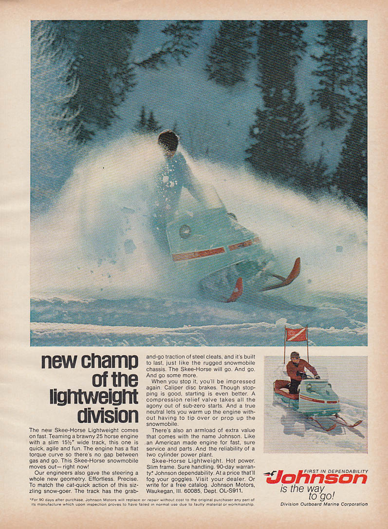 New Champ of Lightweight Division Johnson Skee-Horse snowmobile magazine ad 1970