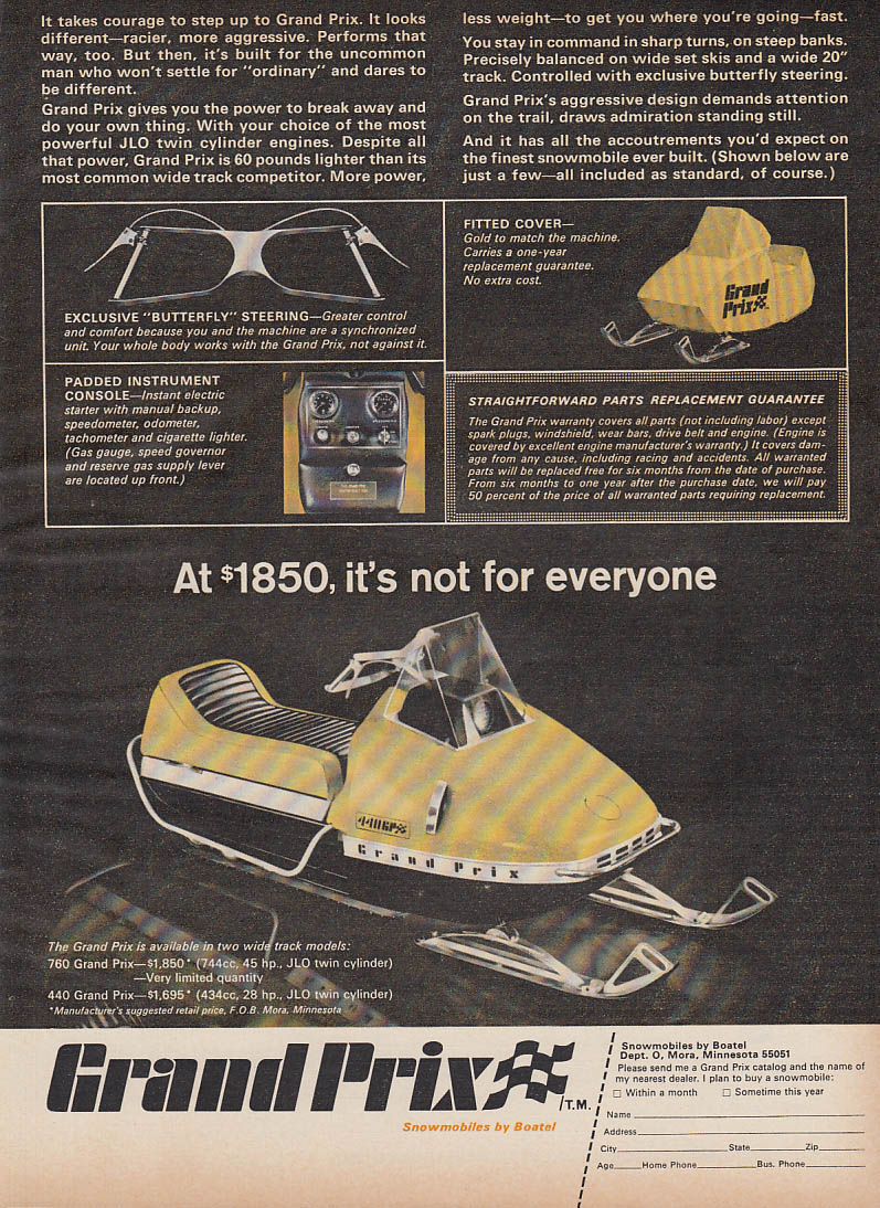 At $1850 it's not for everyone Boatel Grand Prix snowmobile magazine ad 1970
