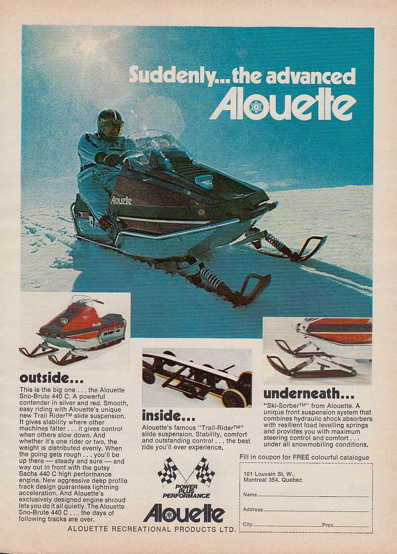 Image for Suddenly the advanced Alouette Sno-Brute 440 C snowmobile magazine ad 1973