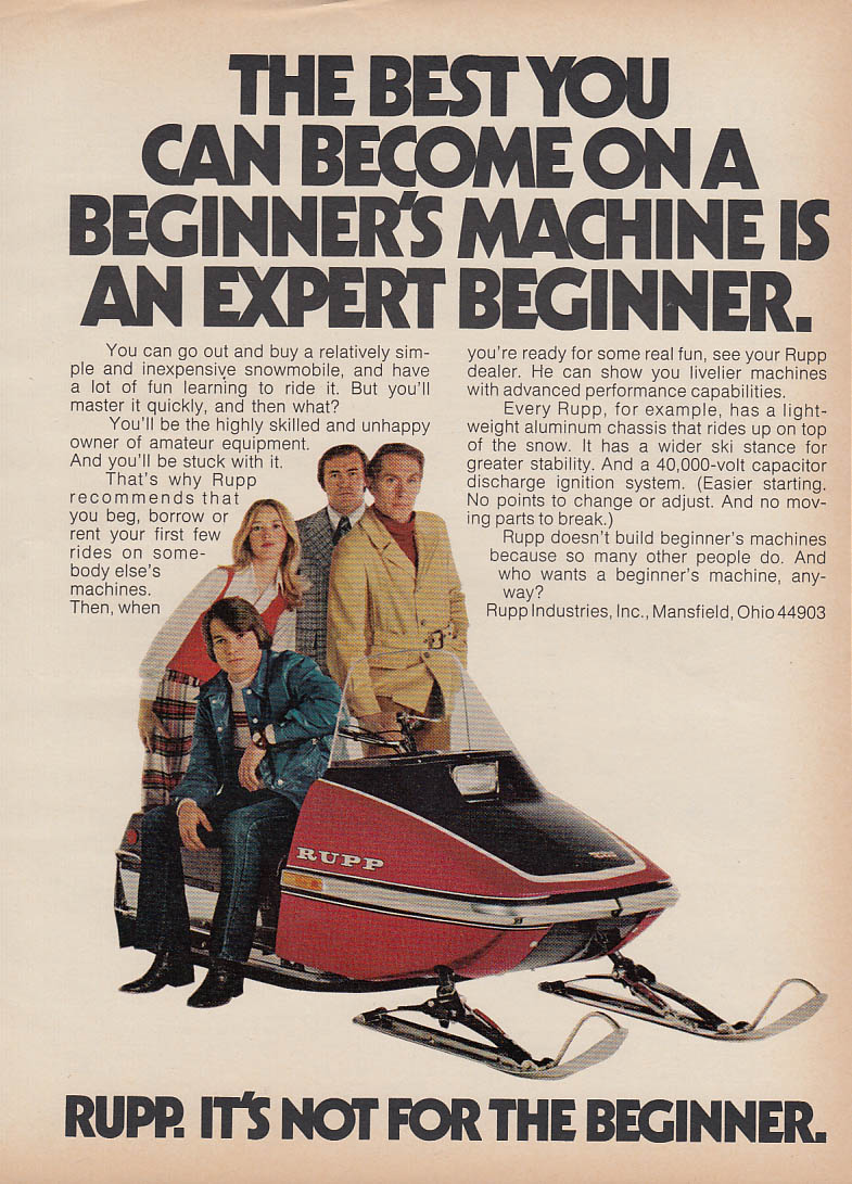 Not for the beginner Rupp snowmobile magazine ad 1973