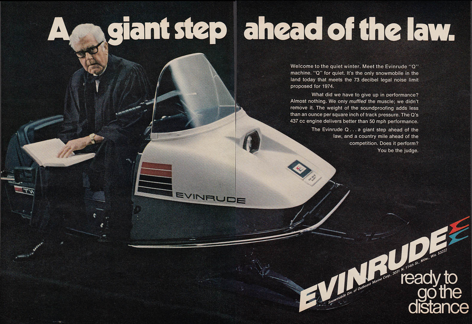 A giant step ahead of the law Evinrude WT-30-Quiet snowmobile magazine ad 1973