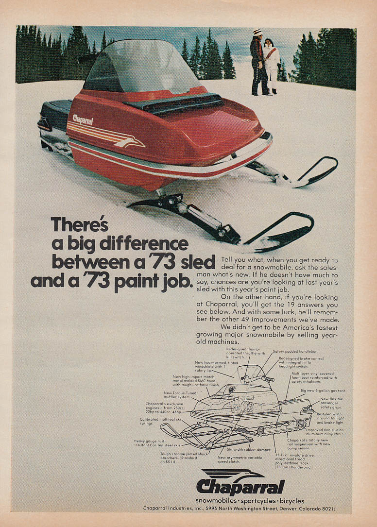 Big difference between a sled & paint job Chaparral snowmobile magazine ad 1973