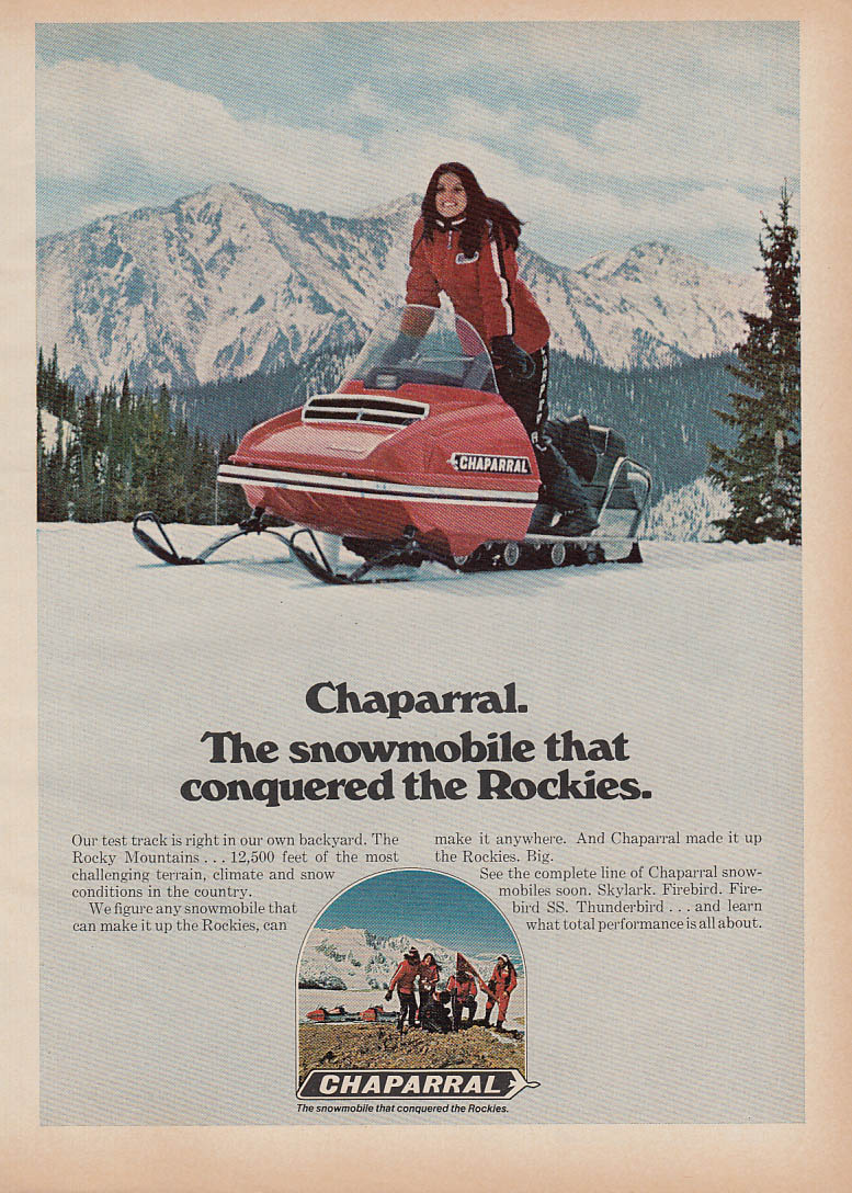 Conquered the Rockies Chaparral snowmobile magazine ad 1972