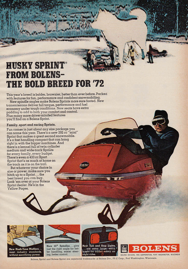 Image for The Bold Breed - Bolens Husky Sprint snowmobile magazine ad 1972