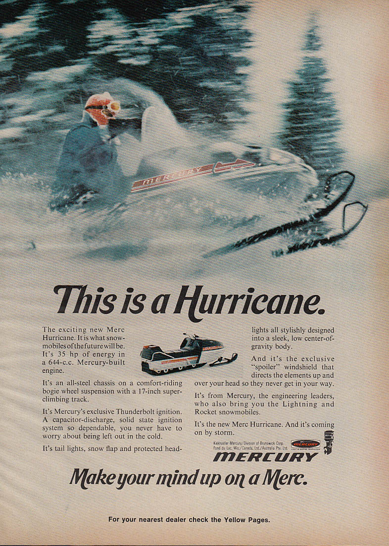 Image for This is a Mercury Hurricane snowmobile magazine ad 1972