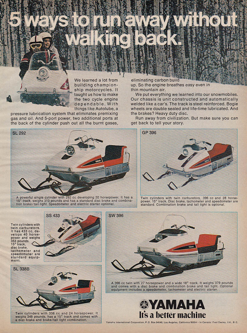 Run away without walking back Yamaha snowmobile magazine ad 1971